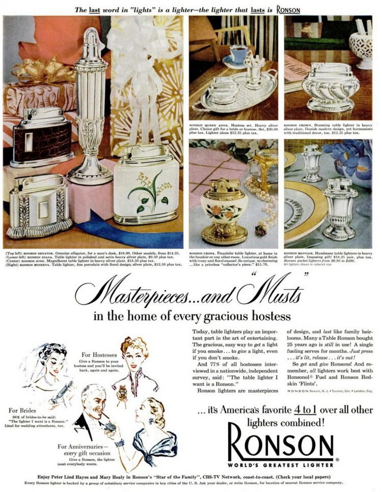 Vintage table lighters from 1952