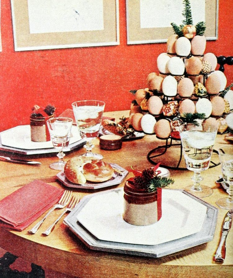 Vintage table setting with eggs from 1972