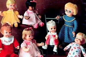 Vintage talking dolls from the '60s Just pull the string and they say different things!