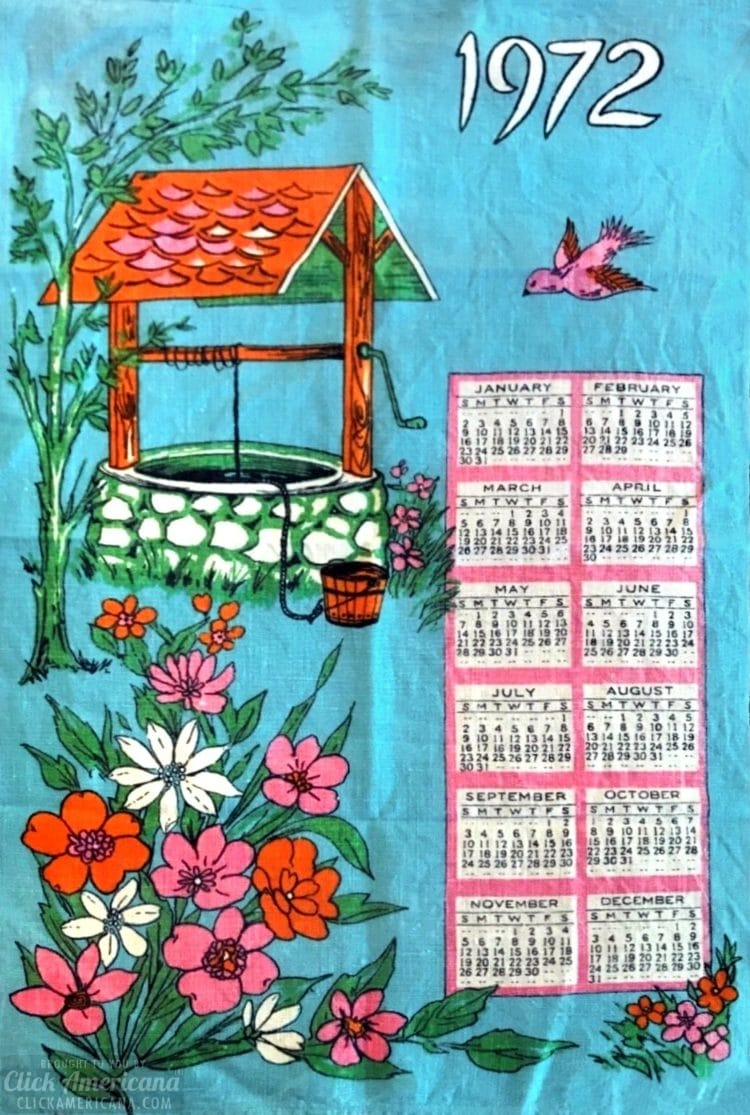 Vintage calendar towels - Blue with wishing well (1972)