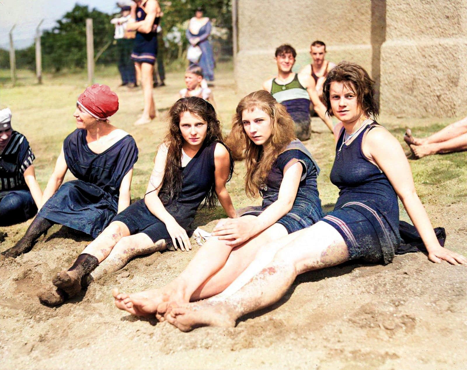 Vintage teens at a bathing beach (1909)