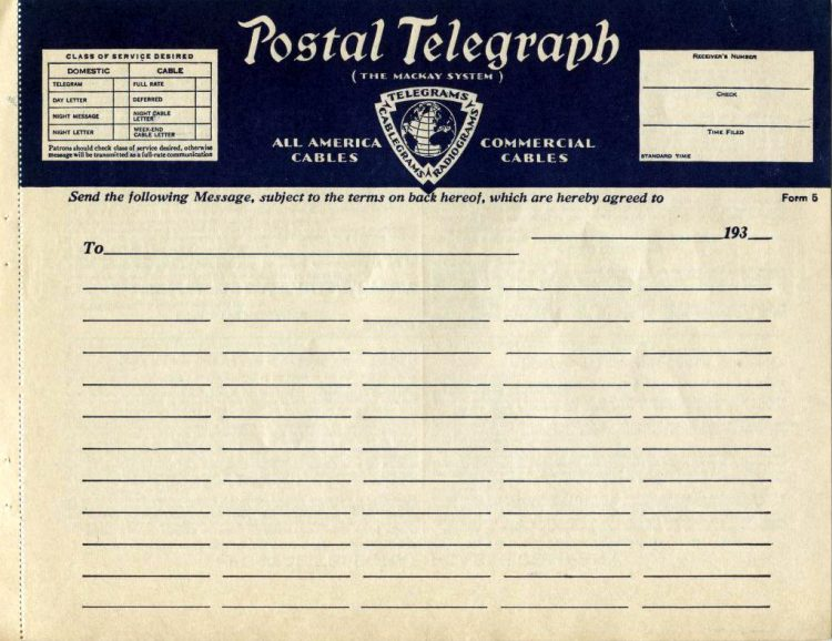 Vintage telegram blanks from the 1930s (4)