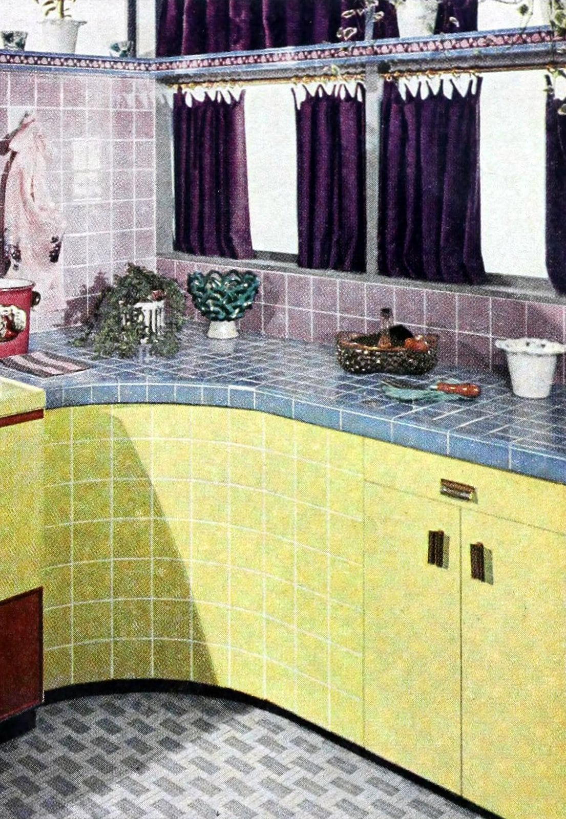 Vintage tile countertops and walls from the 1950s