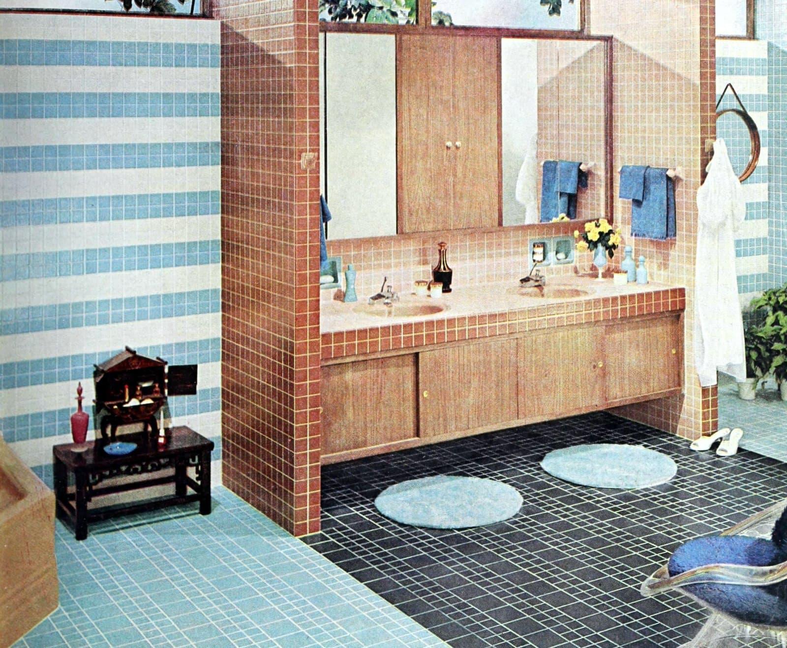 Vintage tile designs in a retro 60s bathroom