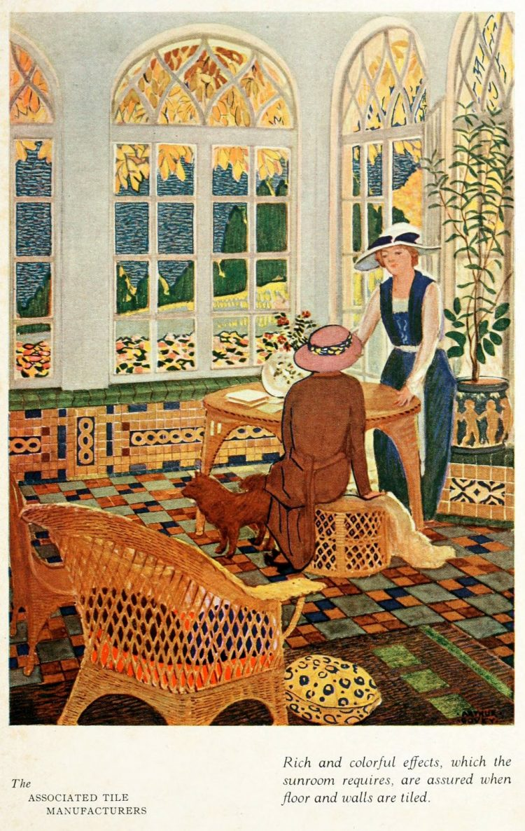 Antique scene from the twenties - Big windows and tile flooring
