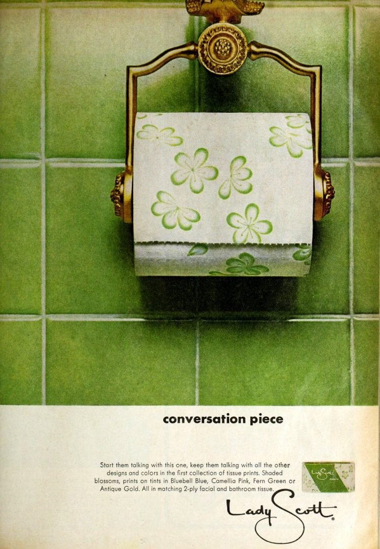 Vintage toilet paper with big green flowers from 1967
