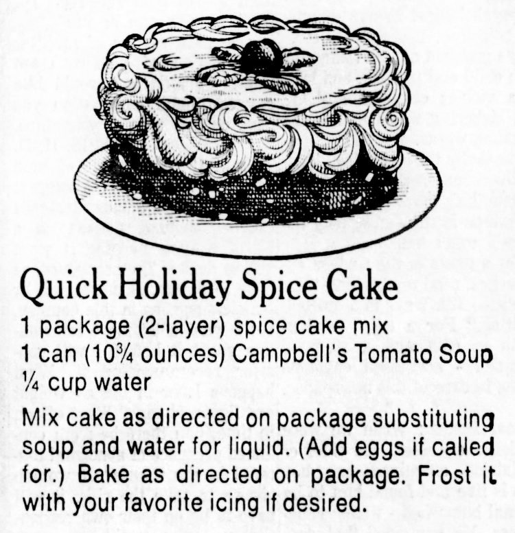 Vintage tomato soup cake - Quick holiday spice cake recipe - 1965