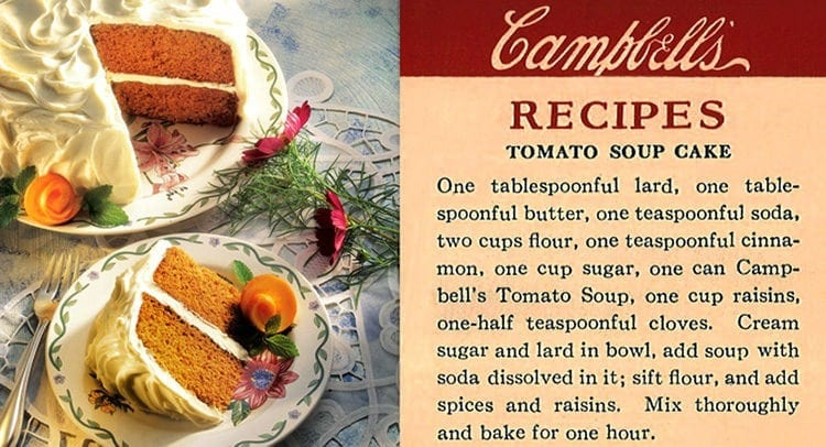 Tomato soup cake recipe from Campbell's