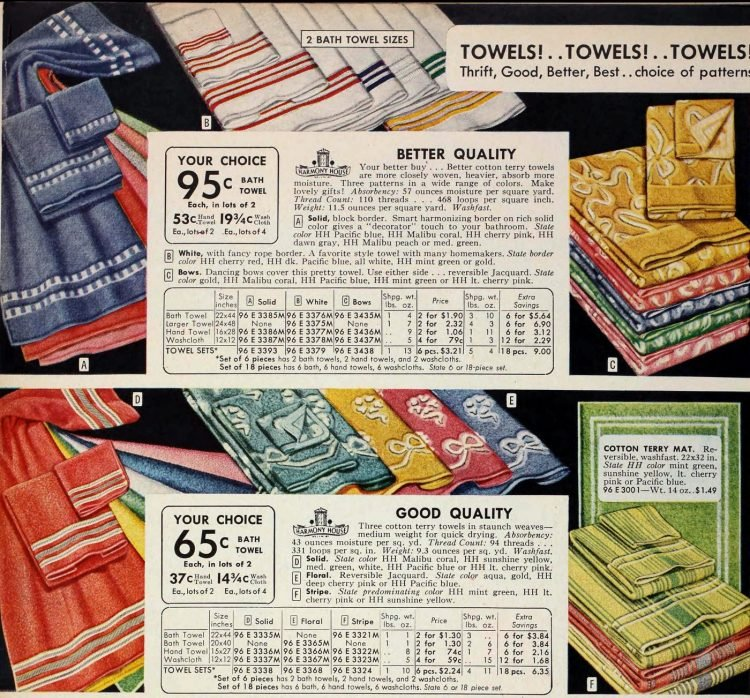 Vintage towels from the 1950s - Sears catalog (2)