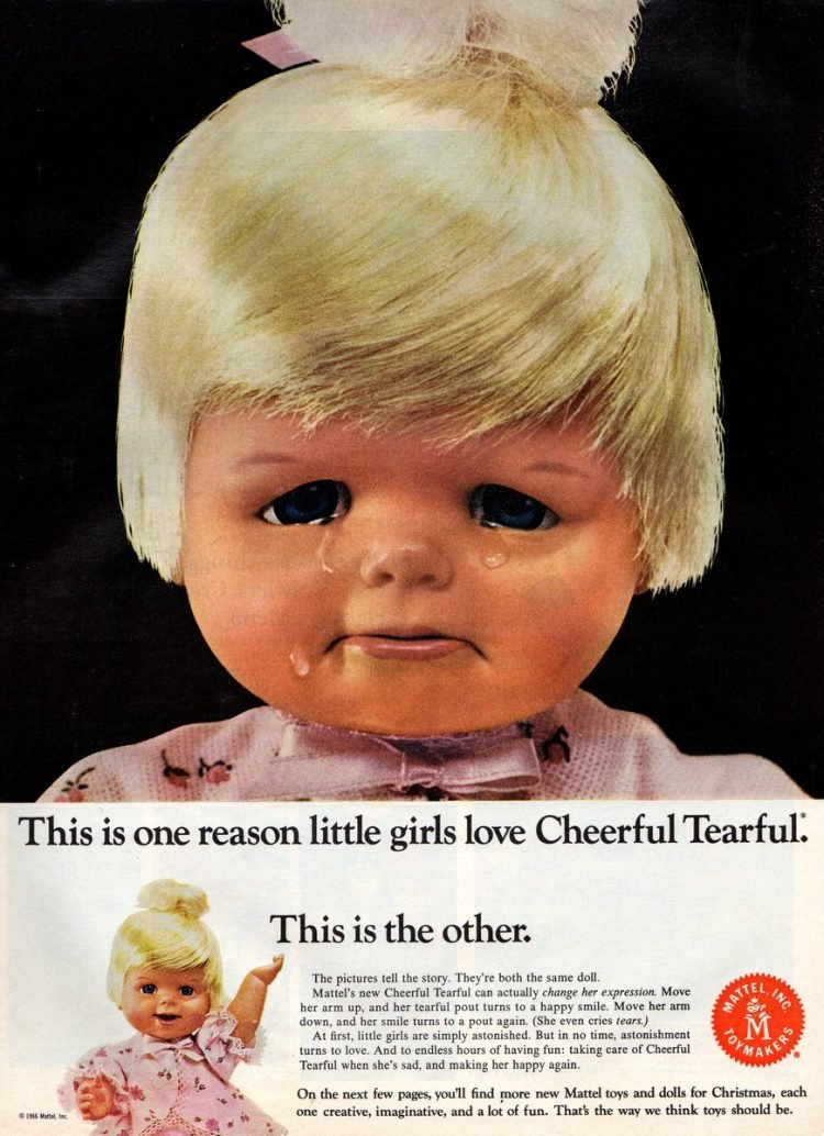 Vintage toys from the 1960s - Mattel Cheerful Tearful doll