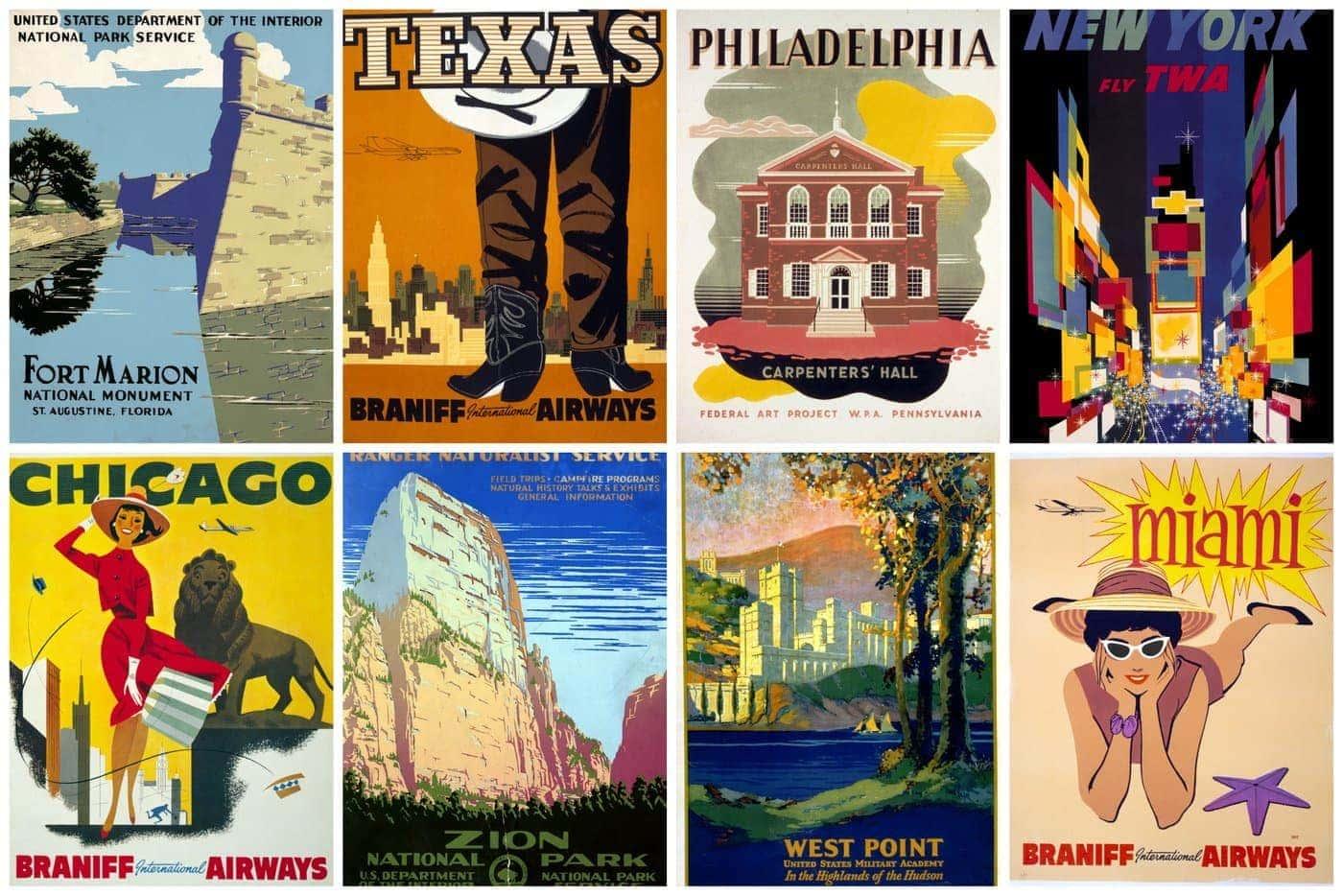 Miami Florida Air United States America Vintage Travel Advertisement Art Poster