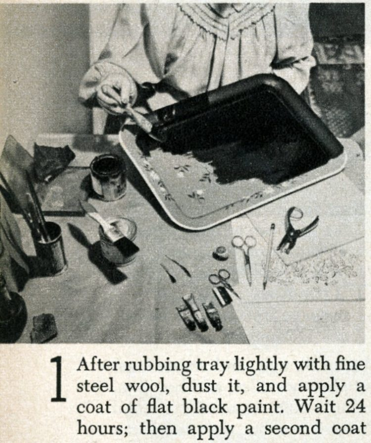 Vintage tray art craft project how-to step 1