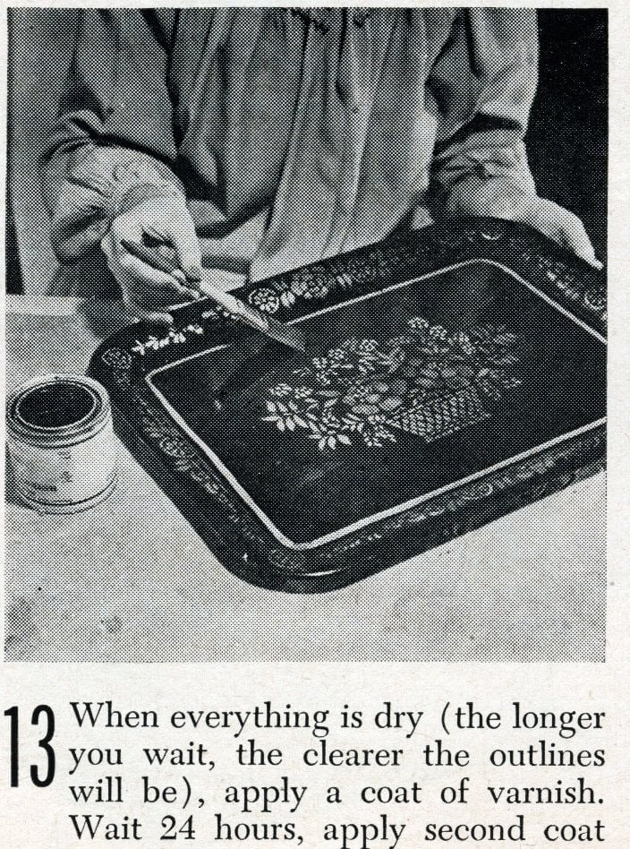 Vintage tray art craft project how-to step 13