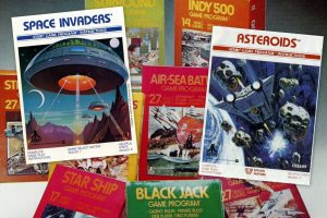 Vintage video games from the 70s Pong, Space Invaders, Asteroids more
