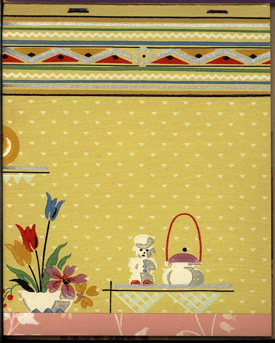 Vintage yellow wallpaper for a kitchen