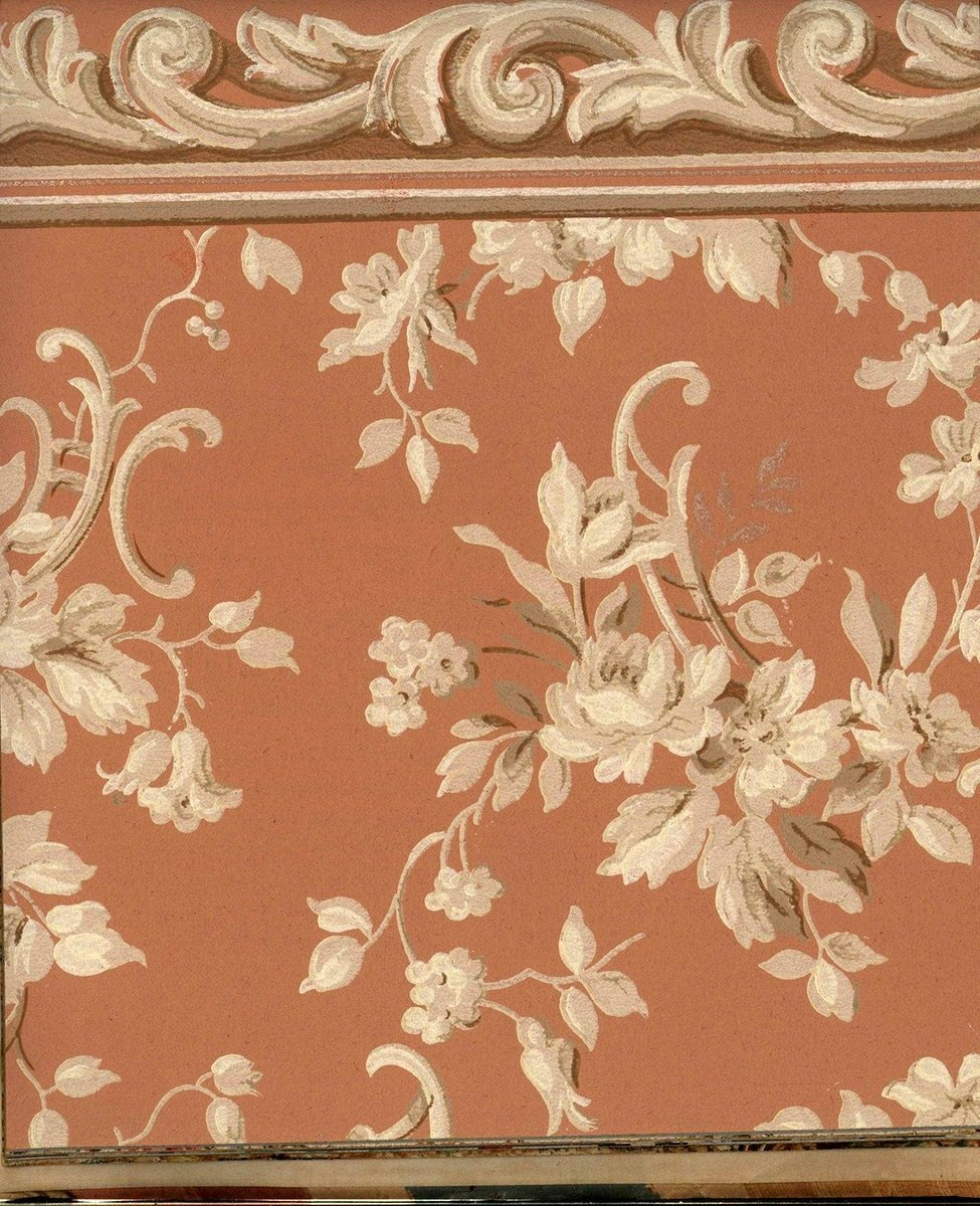 Vintage wallpaper with white flowers on a dusky rose color