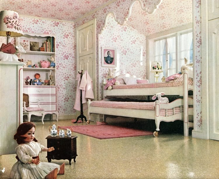 Vintage wallpapered ceiling in a child's room - pink and white decor