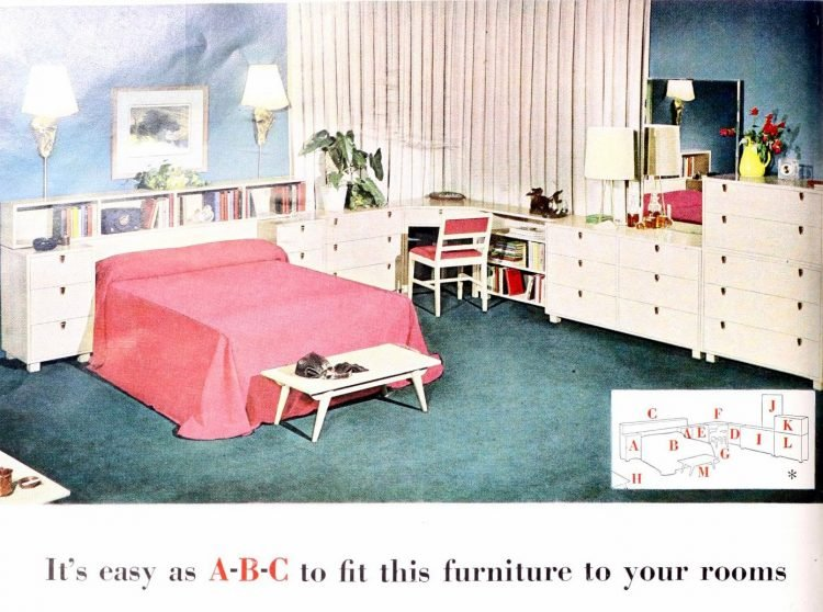Vintage white bedroom furniture with pink queen-size bed
