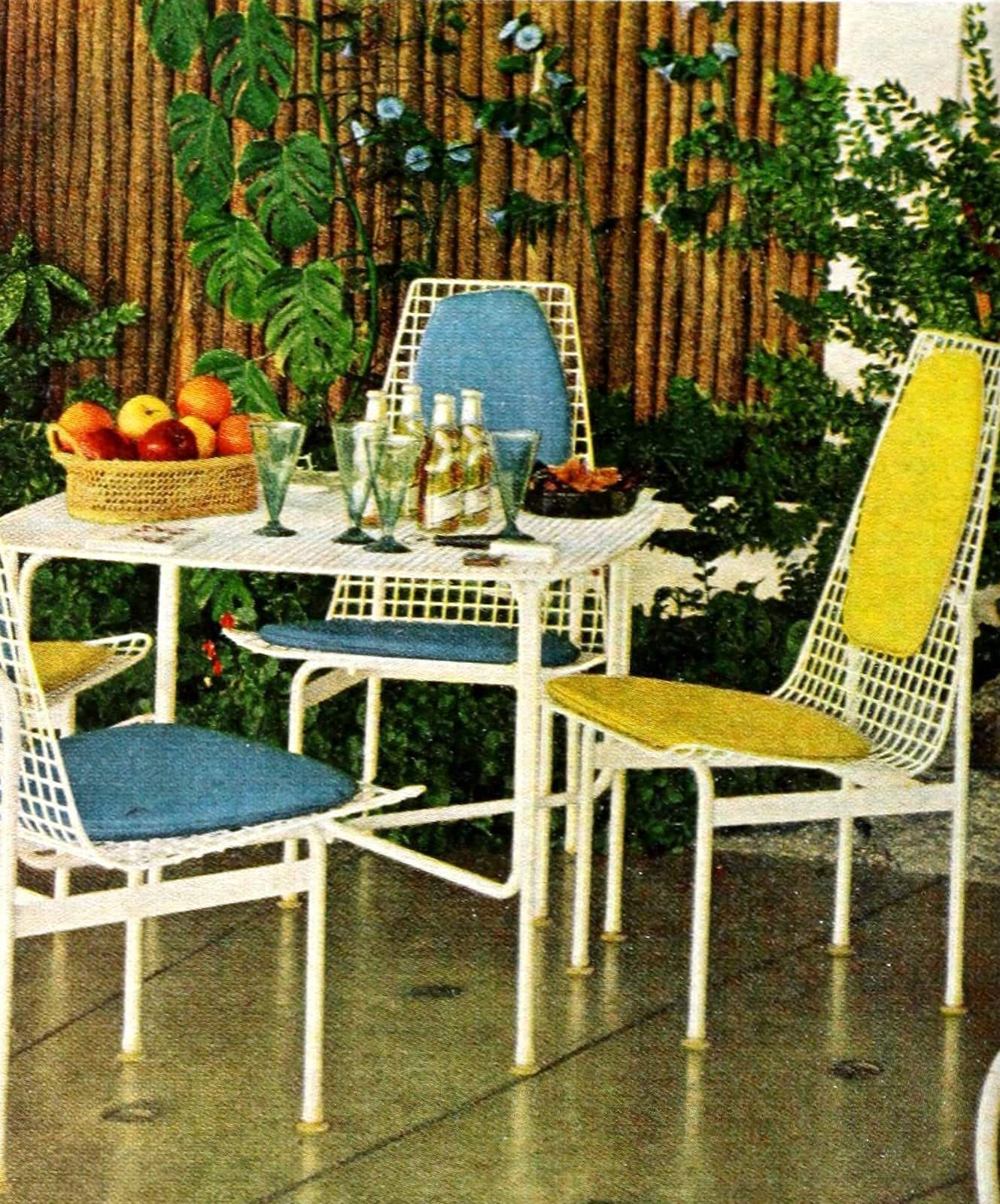 Vintage white vinyl on metal wide mesh indoor outdoor chairs from 1962