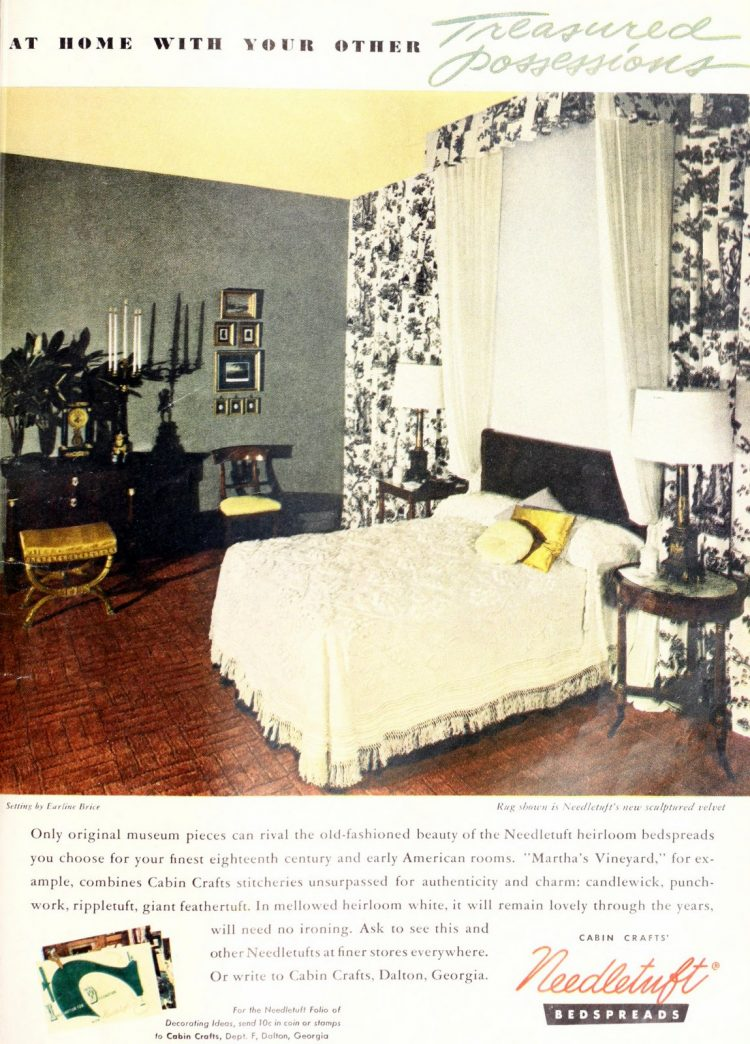 Vintage white yellow and black interior decor for a 1950s master bedroom