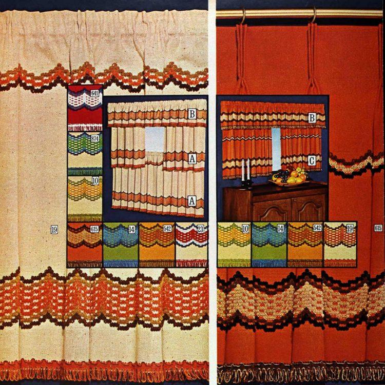 Vintage window curtains - Blackhawk homespun knitted pattern