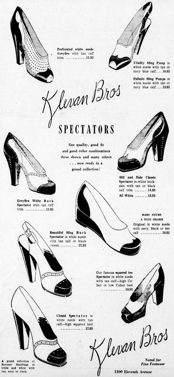 Klevan Bros Spectators in keen color combos (1948)