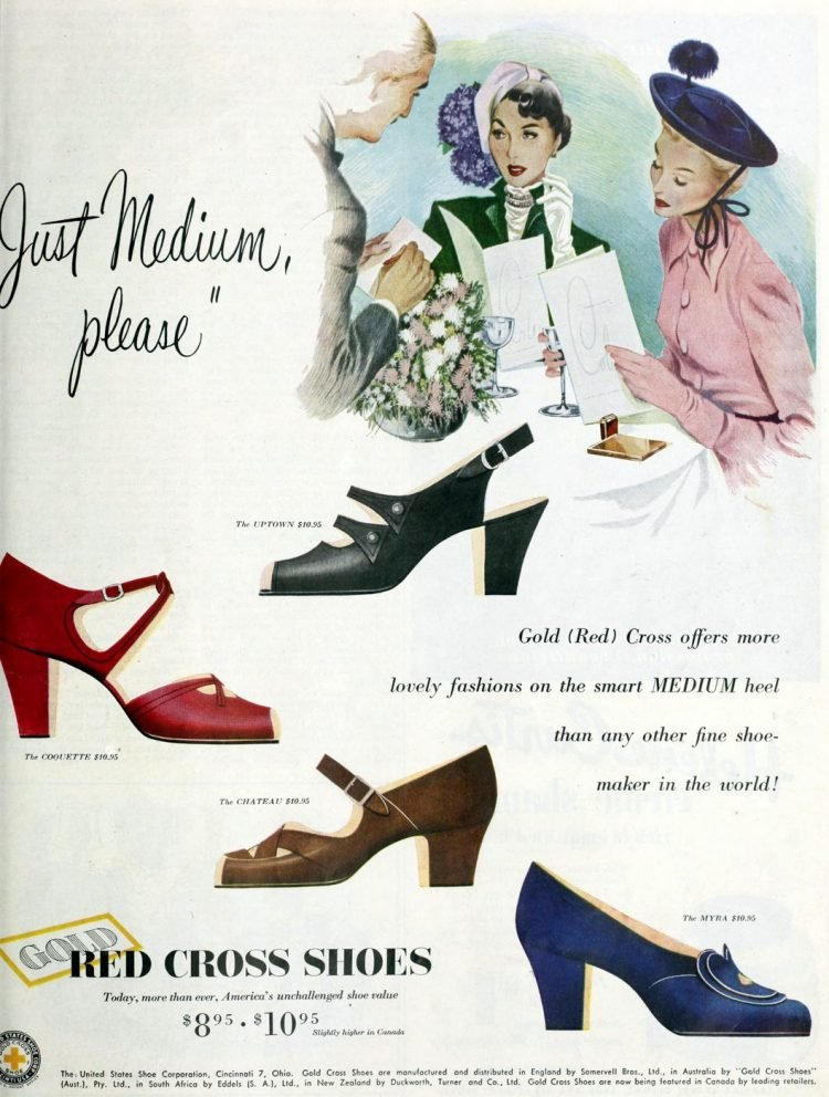 Vintage women's shoes from the 1940s