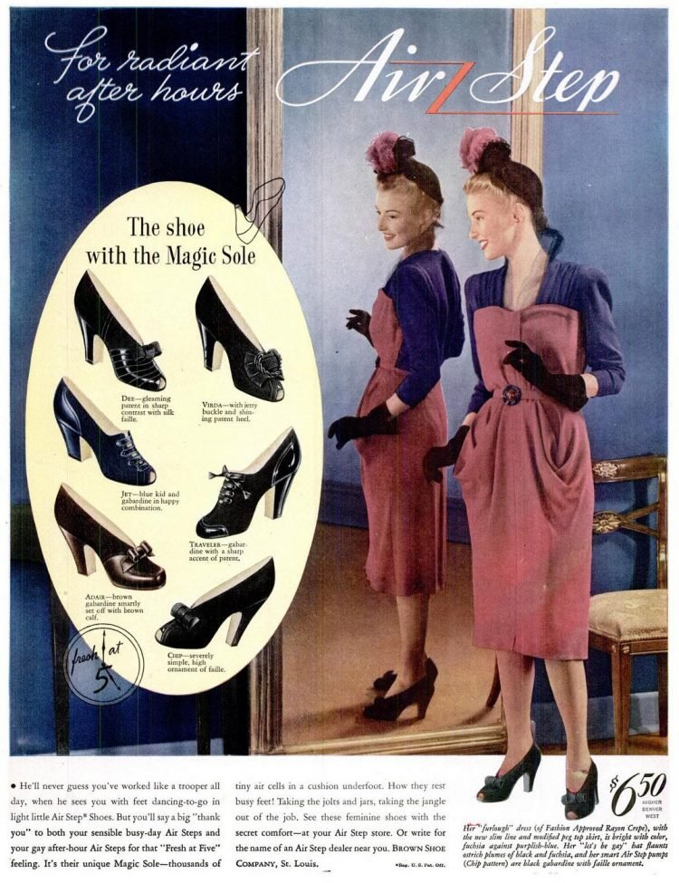 Women's shoes from the 1940s