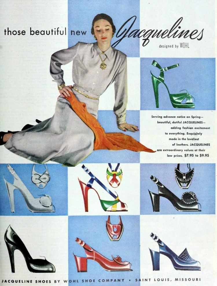 Vintage women's shoes from the 1940s: Jacquelines (1949)