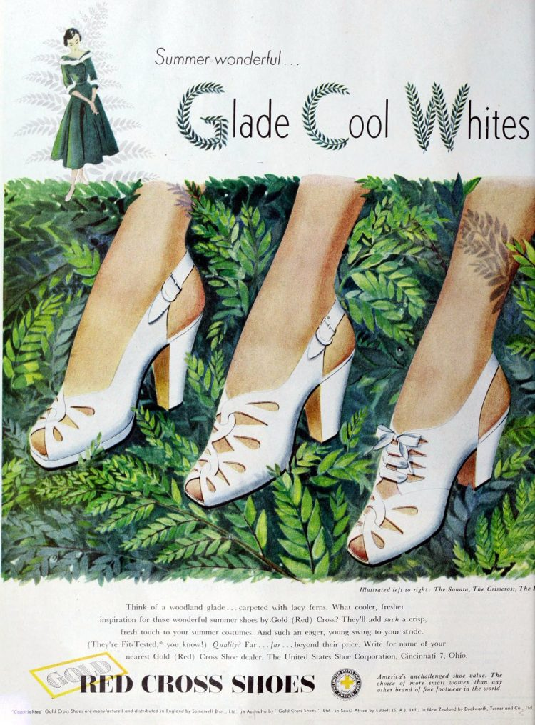 Summer wonderful Gold Cross shoes in white (1949)