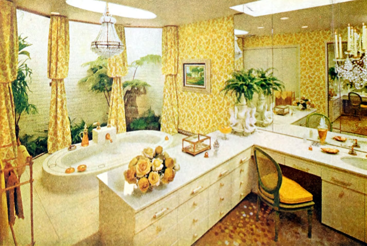 Vintage yellow 1960s bathroom decor with a feminine feel and dressing area