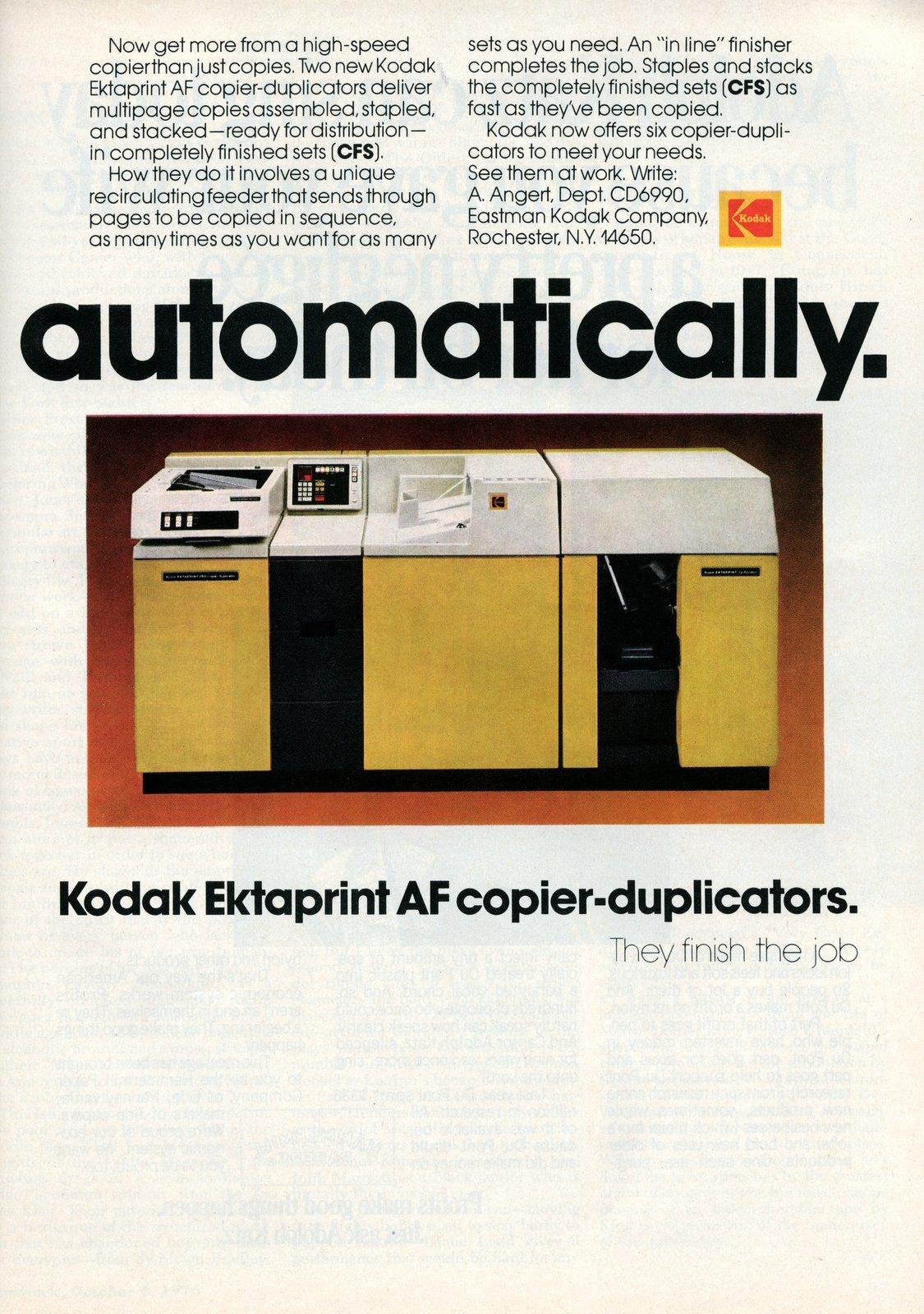 Vintage yellow Kodak Ektaprint AF copier-duplicators (1976)