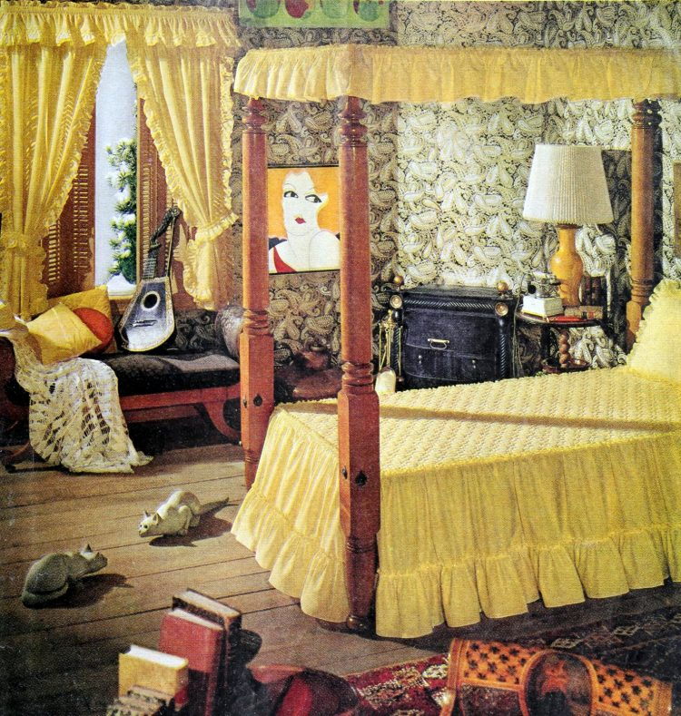 Vintage yellow canopy bed and 70s teen bedroom decor