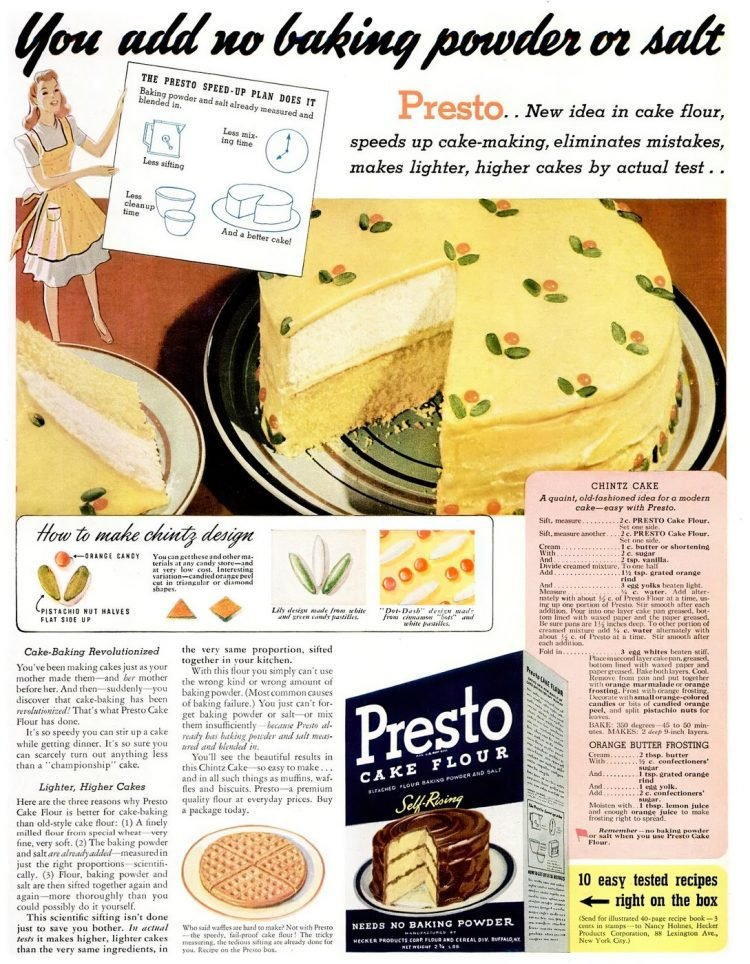 Vintage yellow flower chintz cake recipe from the 40s