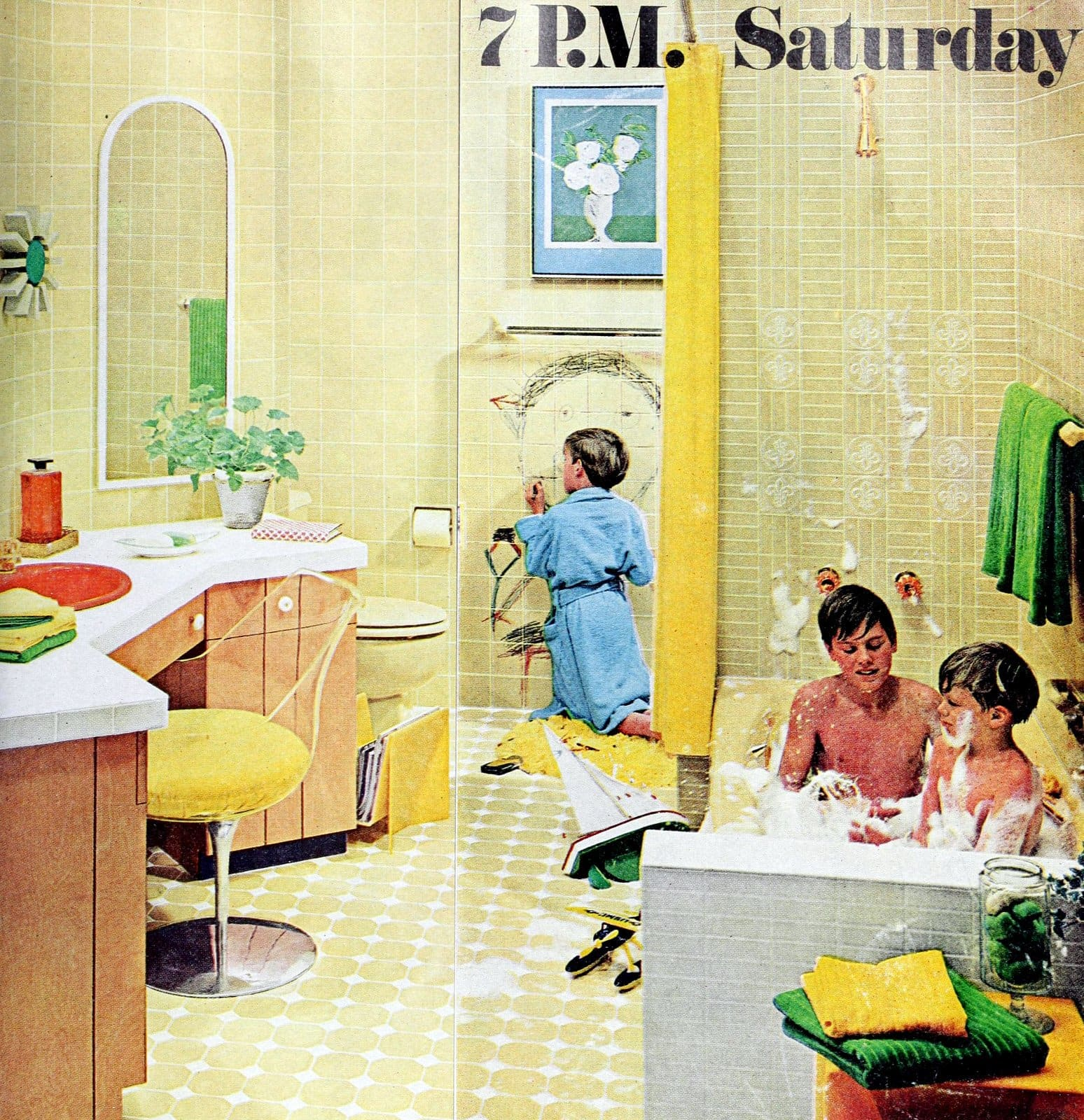 Vintage yellow tiled bathroom from 1969