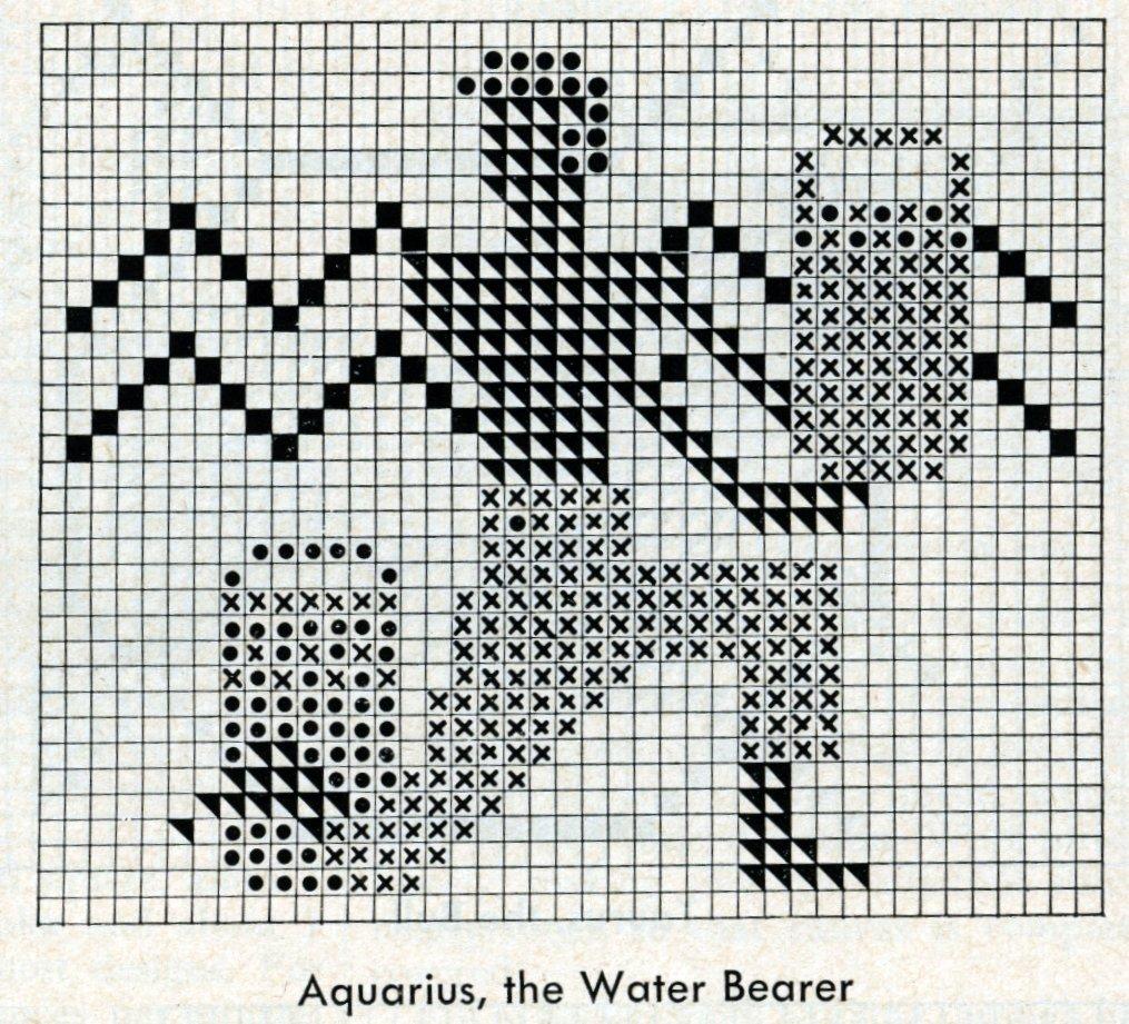 Vintage zodiac cross-stitch design - Aquarius the water-bearer