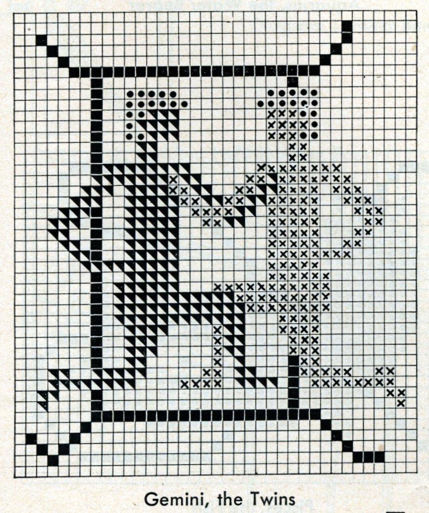 Vintage zodiac cross-stitch design - Gemini the twins