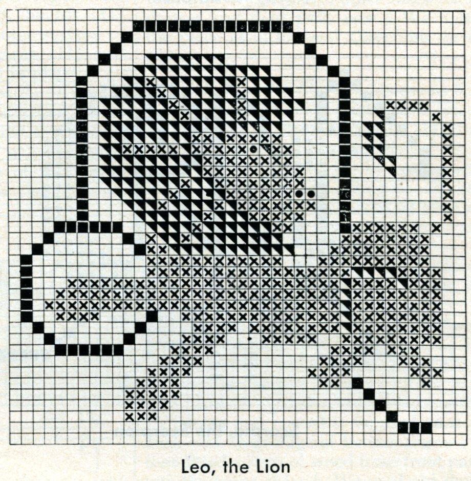 Vintage zodiac cross-stitch design - Leo the lion pattern