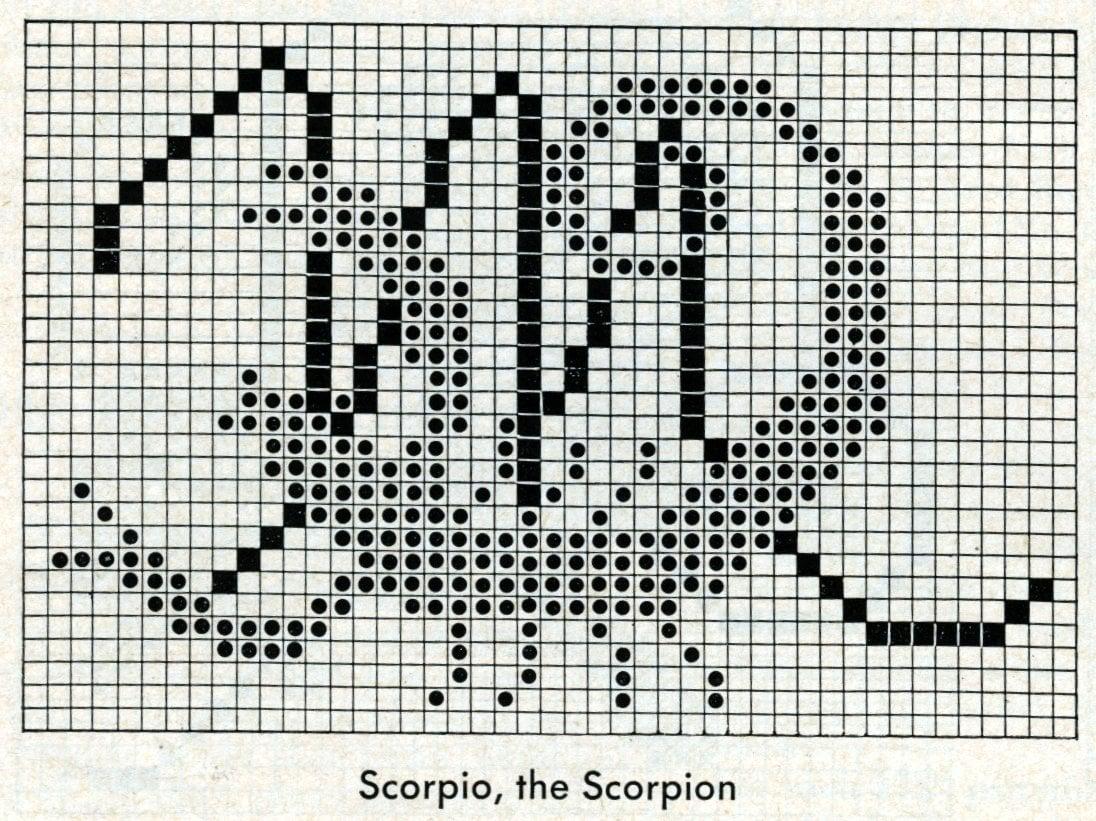 Vintage zodiac cross-stitch design - Scorpio the scorpion