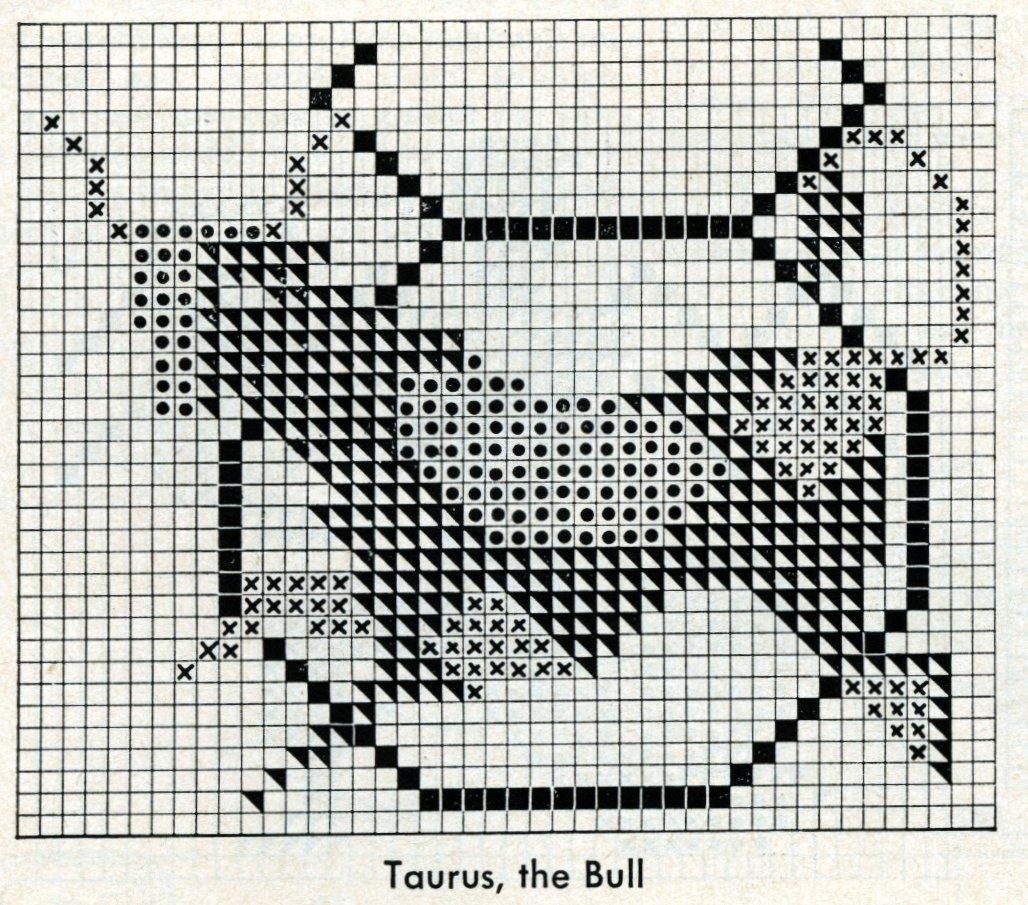 Vintage zodiac cross-stitch design - Taurus the bull