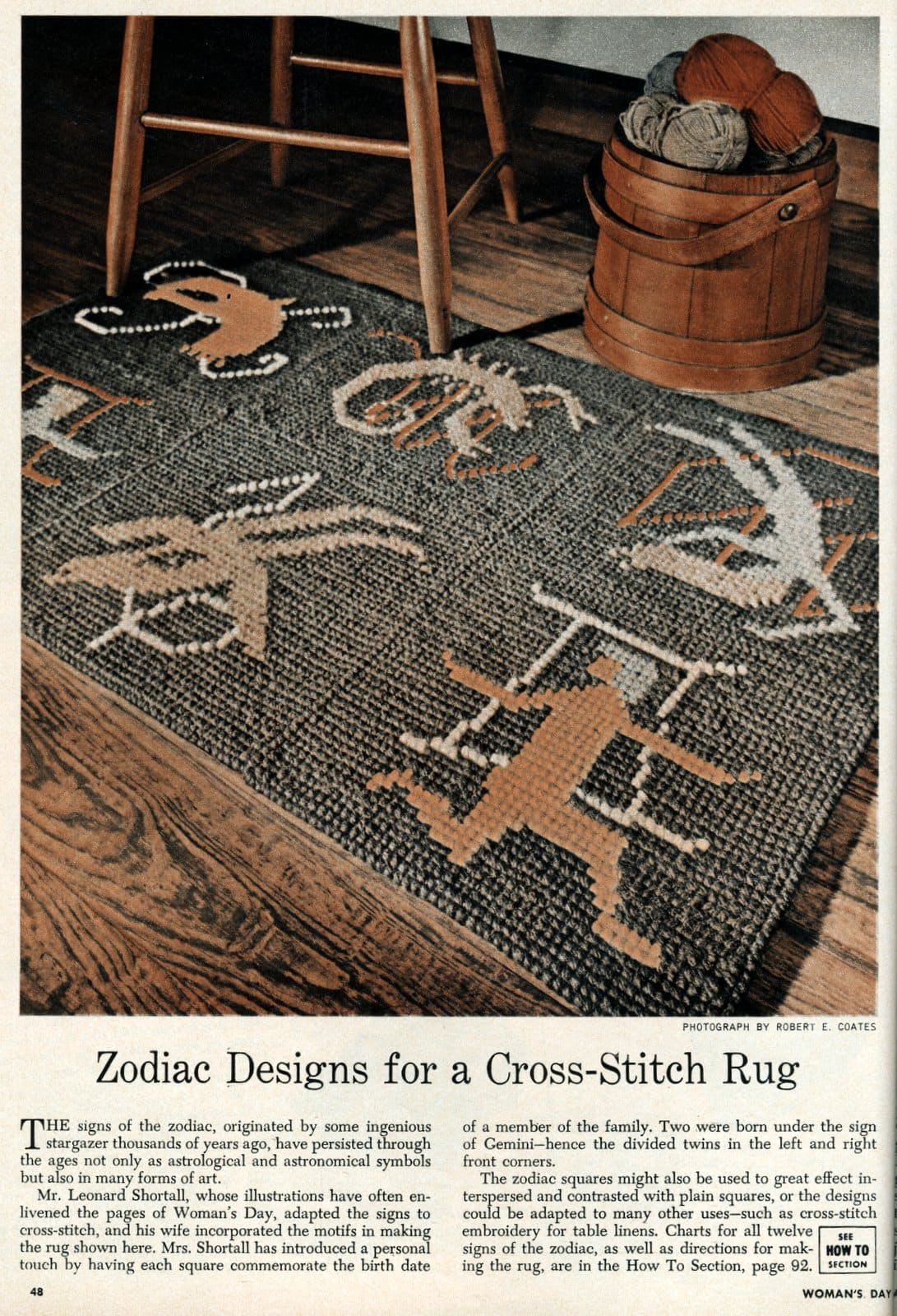 Vintage zodiac cross-stitch designs to make astrological needlework (1950)