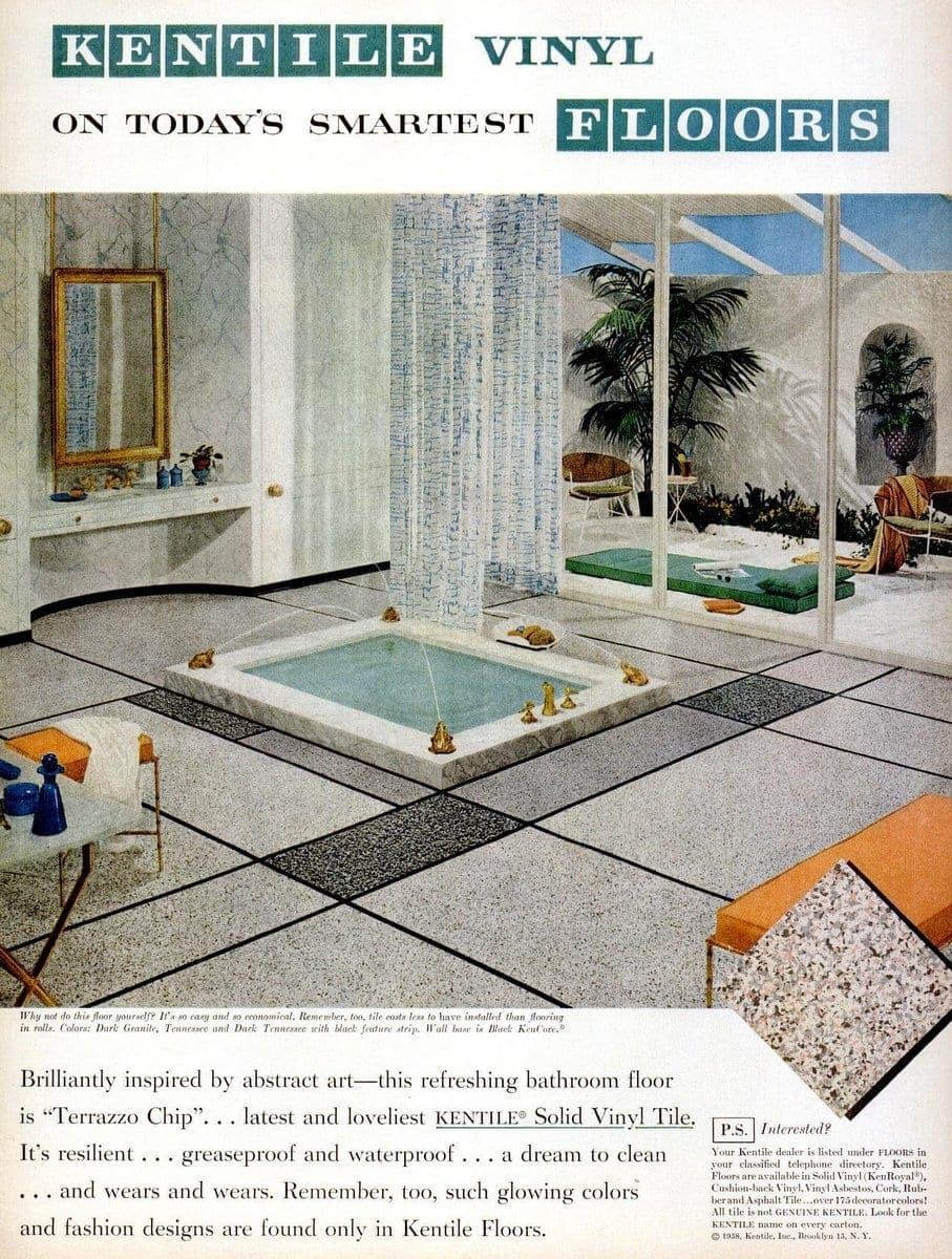Vinyl flooring from 1958 in a bathroom with a sunken tub
