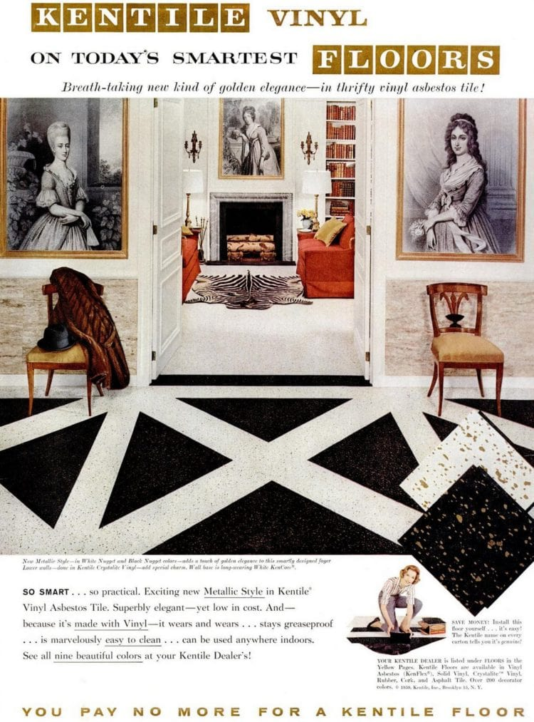 Vinyl floors for the home from 1959 - Black and white metallic vinyl tile