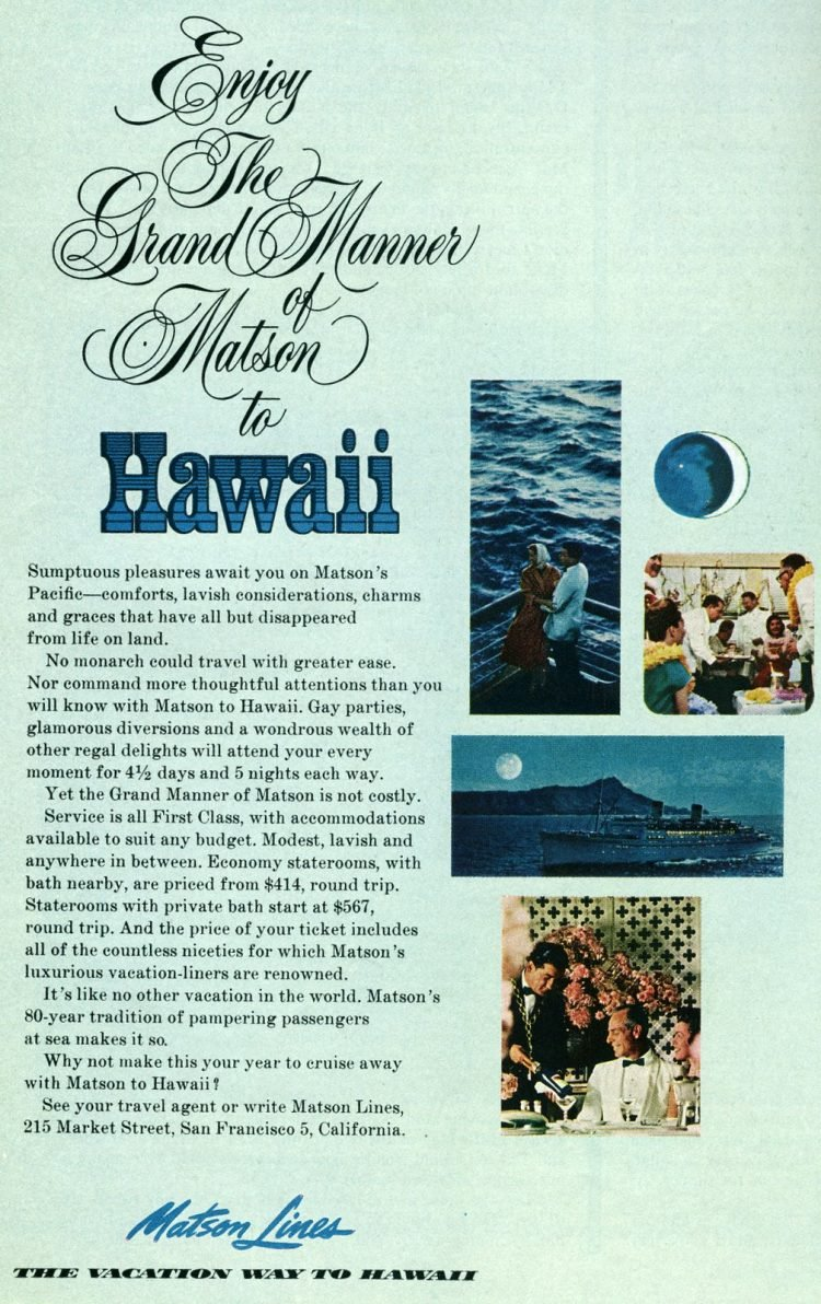 Visit Hawaii - Matson cruise lines 1963