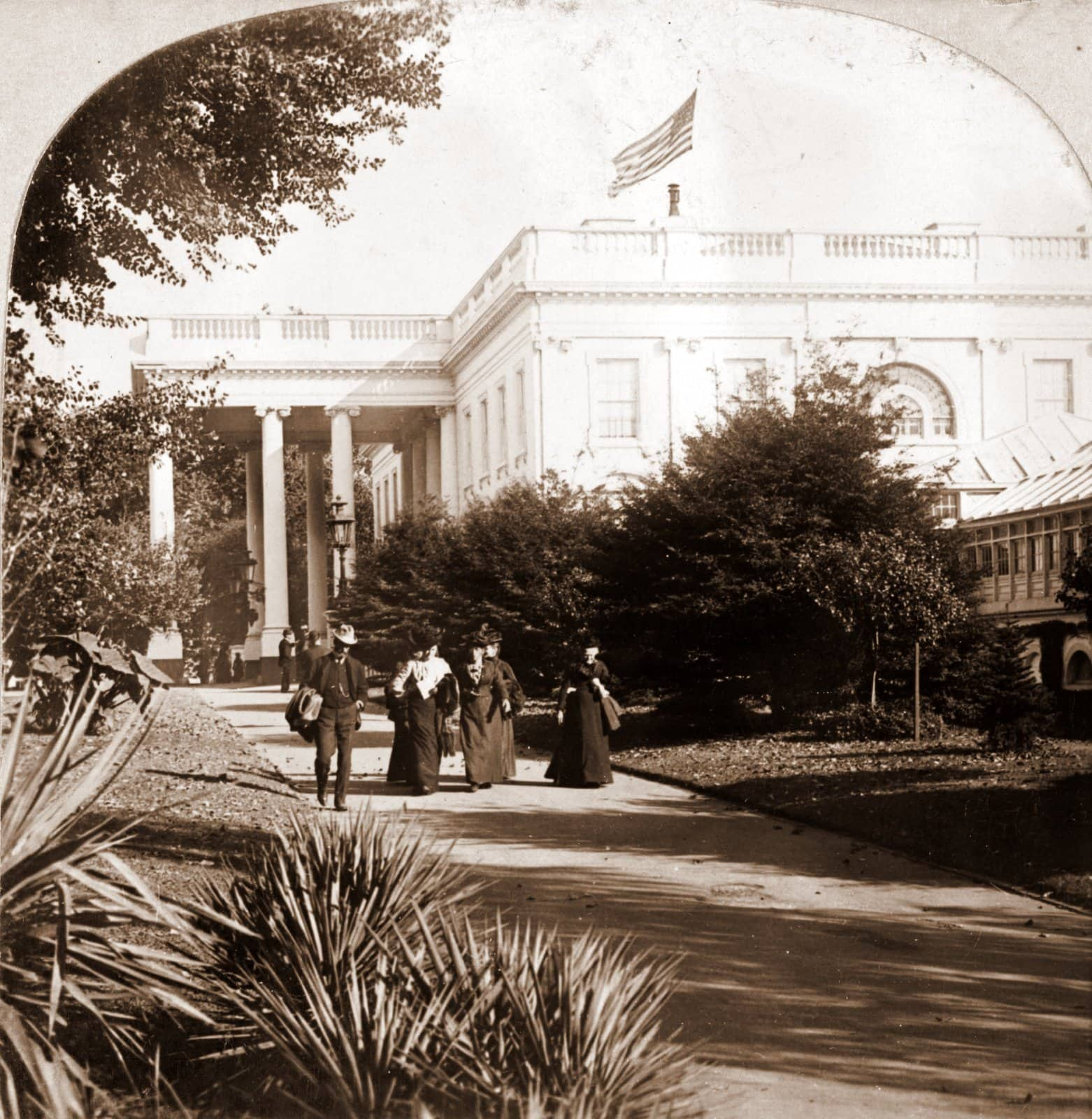 Visitors leaving the White House