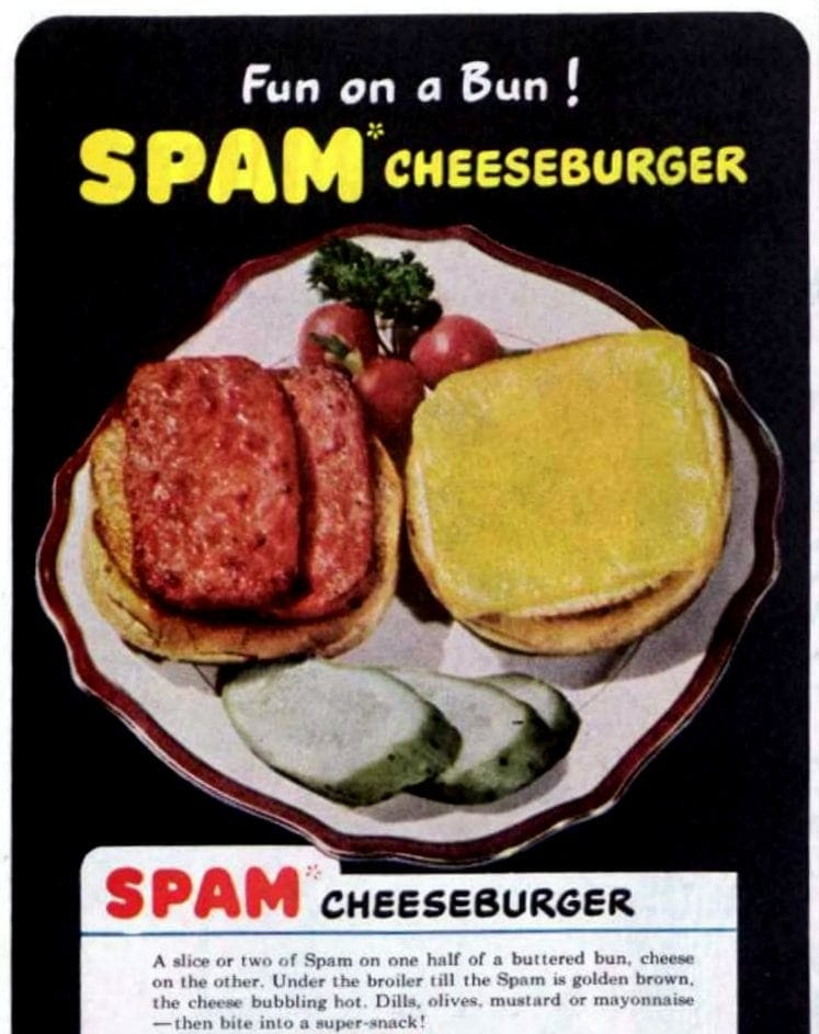 Vitnage Spam cheeseburger recipe from 1948