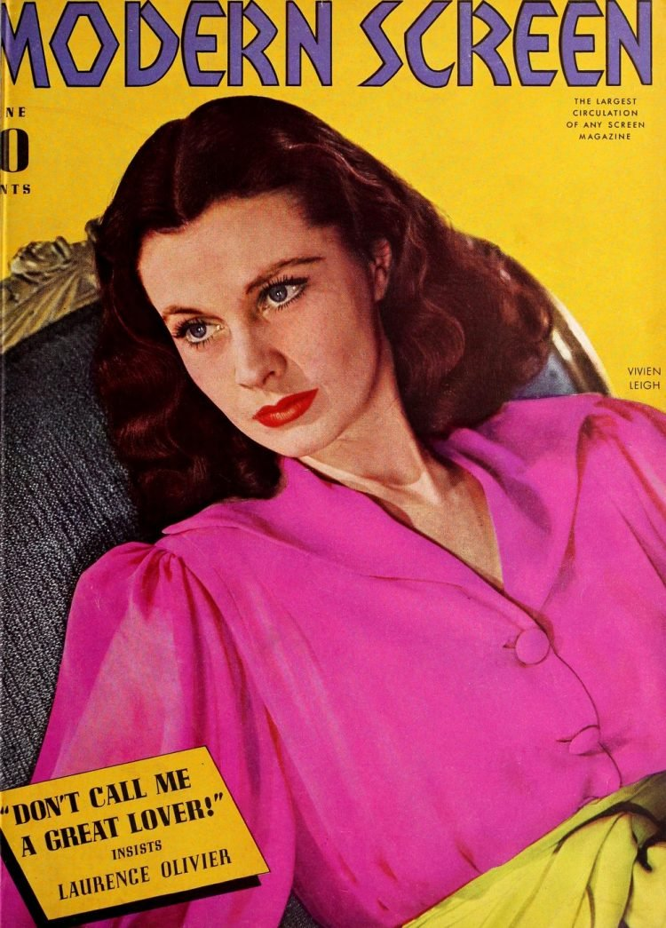 Vivien Leigh on the cover of Modern Screen 1940