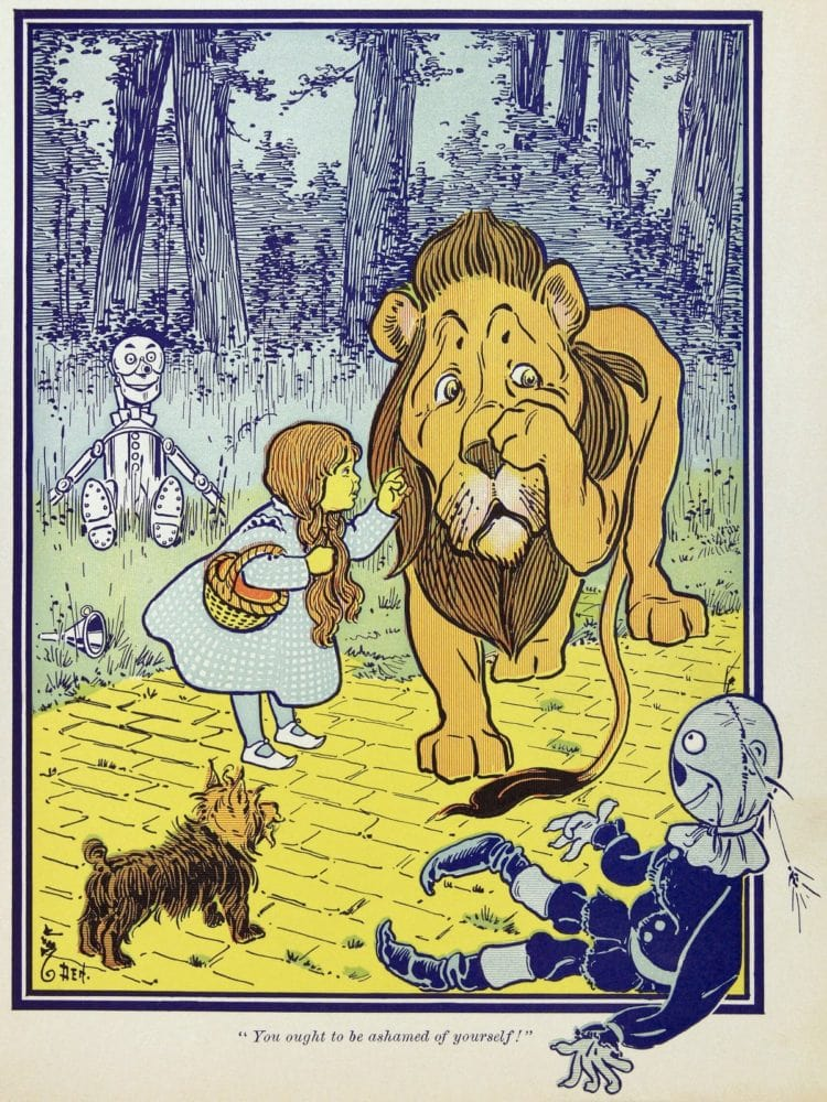 WW Denslow art for The Wonderful Wizard of Oz book review - Cowardly Lion