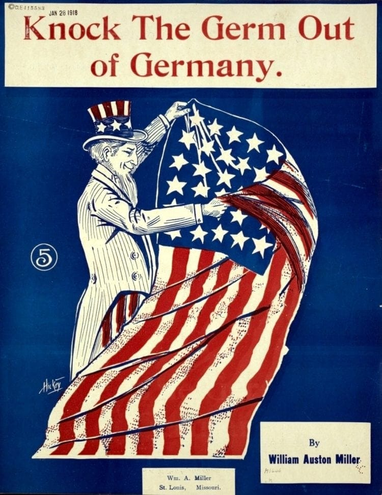 WWI 1918 - Sheet music for Knock the germ out of Germany