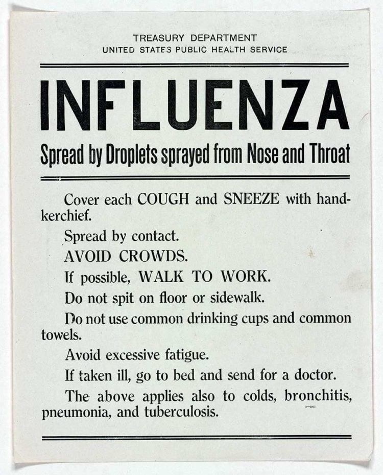 WWI influenza warning sign